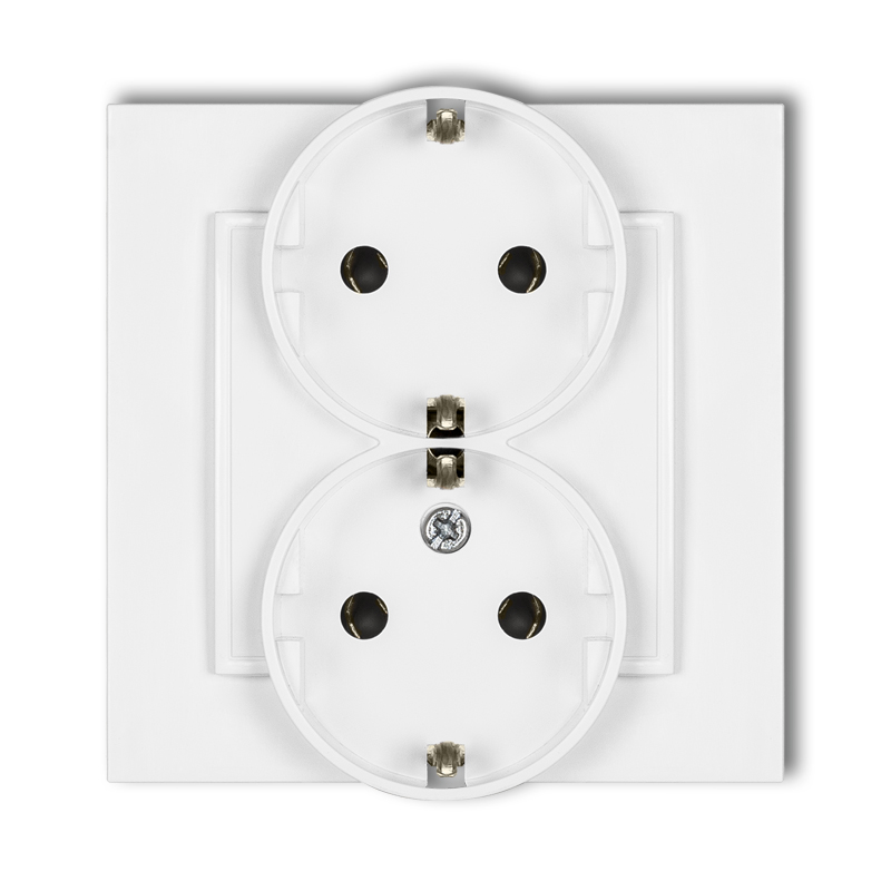 Double socket with earth SCHUKO 2x(2P+Z) (without child protection)