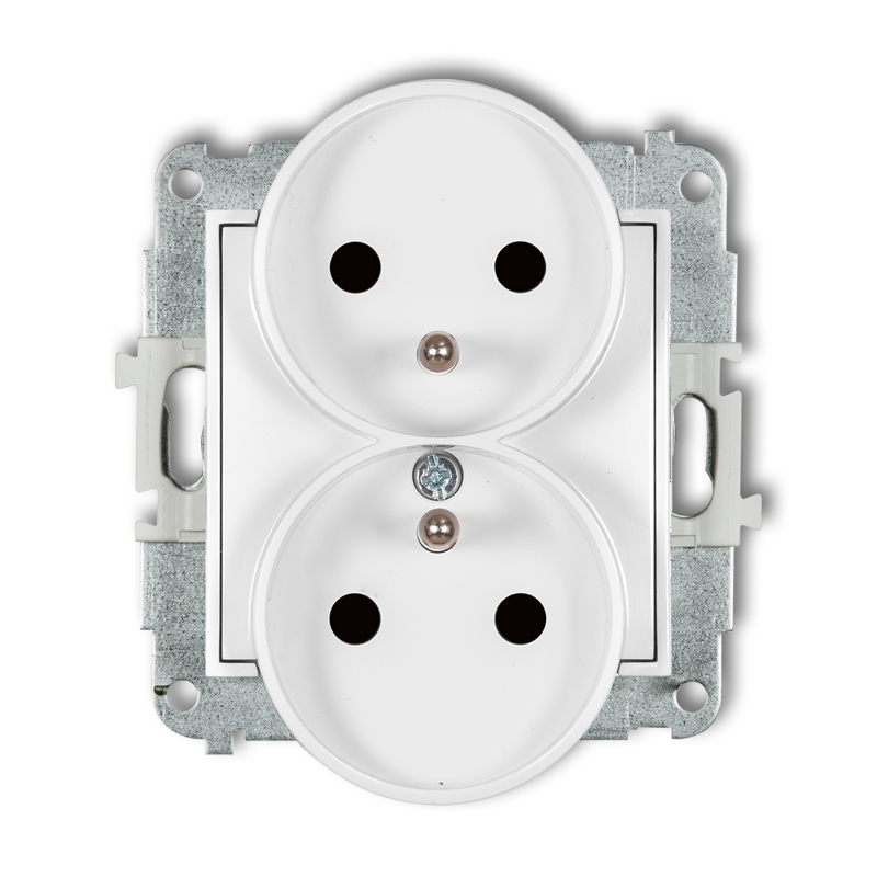 Double socket to a frame with earth 2x(2P+Z) (child protection)