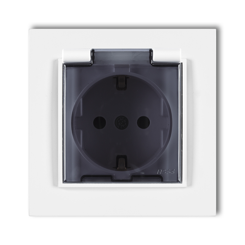 Splash proof socket with earth SCHUKO 2P+Z (shaded transparent cover)