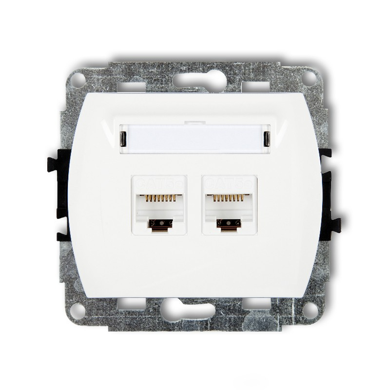 Double computer socket 2xRJ45, cat. 6, 8-contact