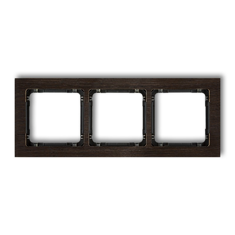 3-gang universal frame - wood effect