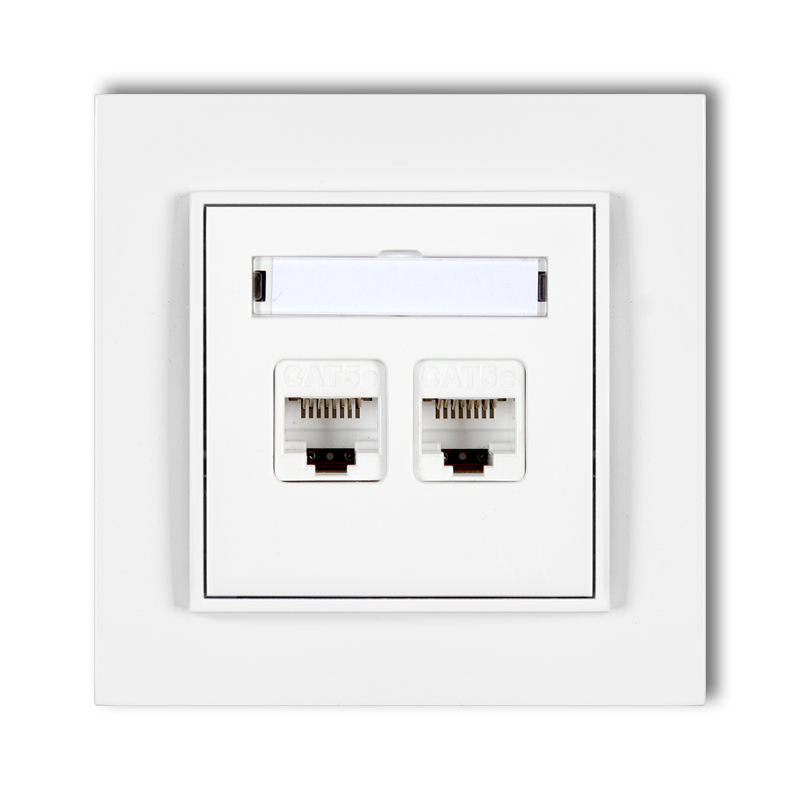 Double computer socket 2xRJ45, cat. 5e, 8-contact