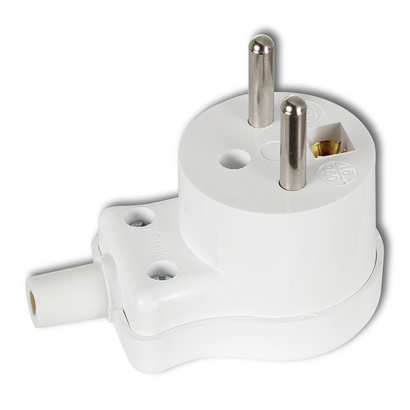 Angle plug with earth, 16A 250V~