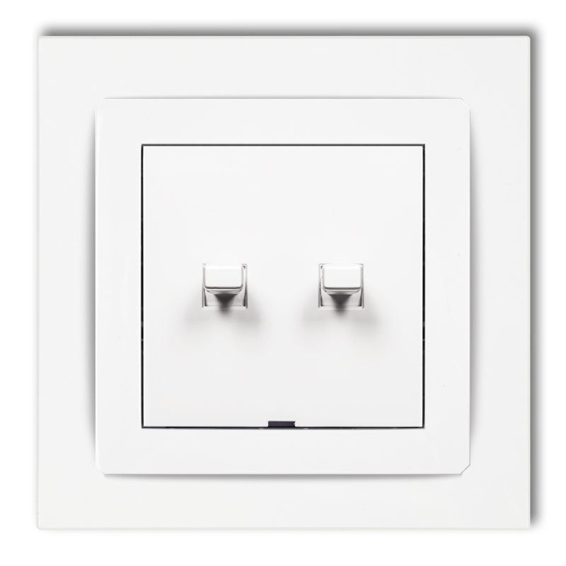 Double two-way switch in American style (two pushbuttons without pictograms)