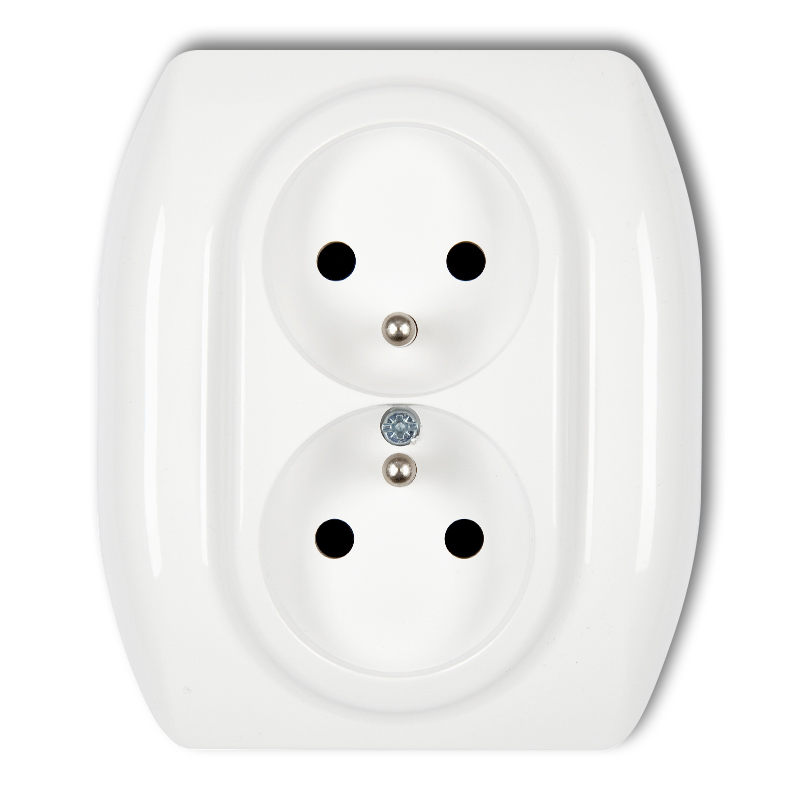 Double socket with earth 2x(2P+Z) (chiold protection)
