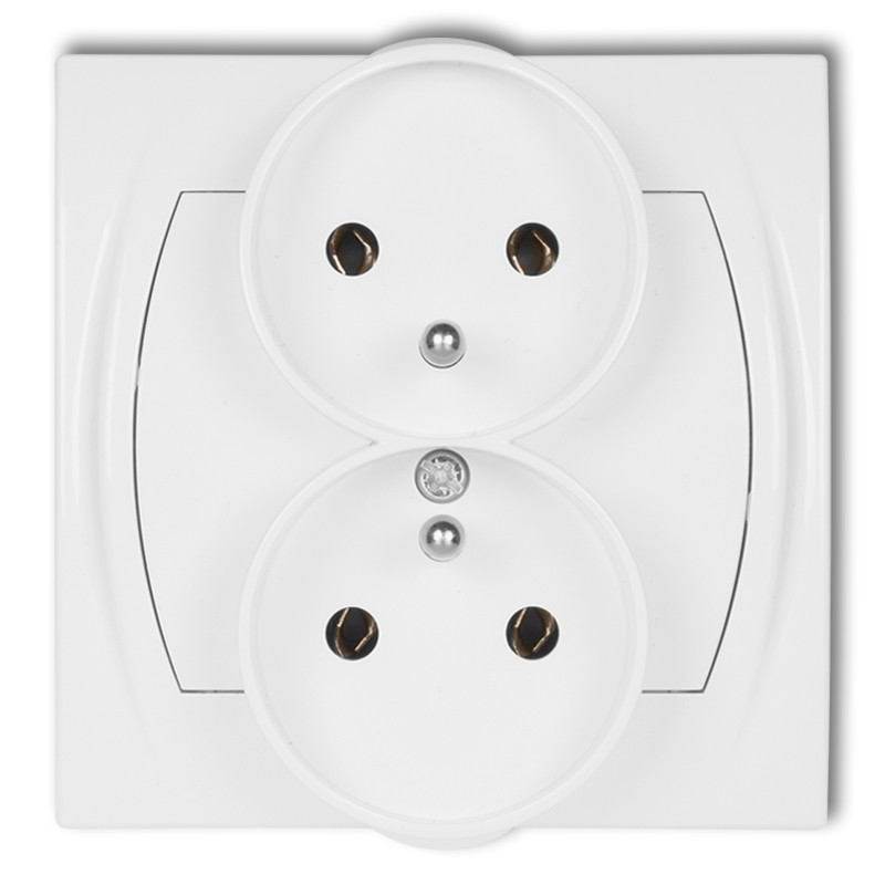 Double socket to a frame with earth 2x(2P+Z) (without child protection)