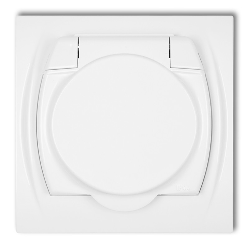 Splash proof socket with earth 2P+Z (white cover)