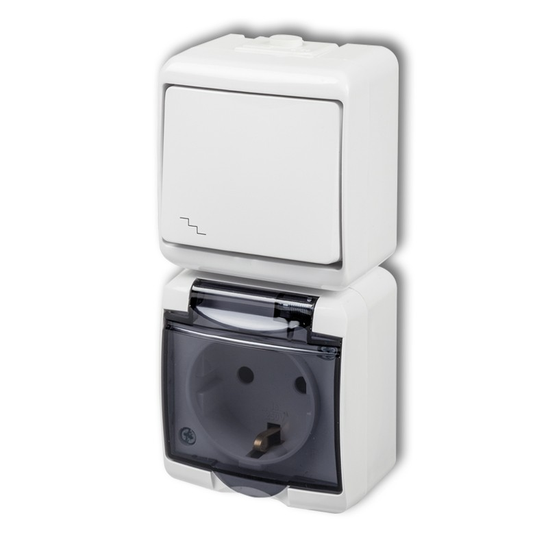 Two-way switch with single socket with earth SCHUKO 2P +Z (shaded transparent cover, without child protection)