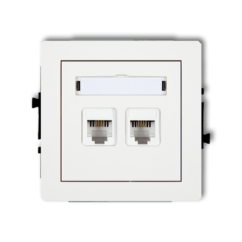 Double telephone socket 2xRJ11, 4-contact, tool-less