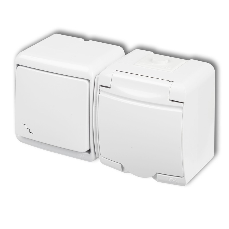 Two-way switch with single socket with earth 2P+Z  (white cover, without child protection)