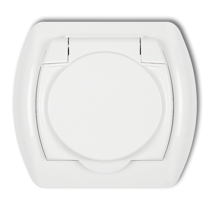 Splash proof socket with earth SCHUKO 2P+Z (white cover)