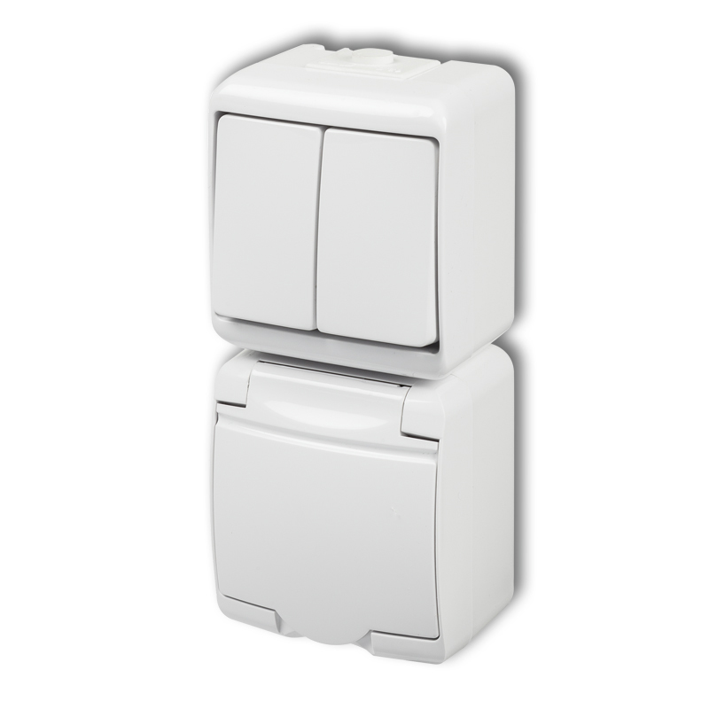 Two-circuit switch with single socket with earth SCHUKO 2P+Z (white cover, child protection)