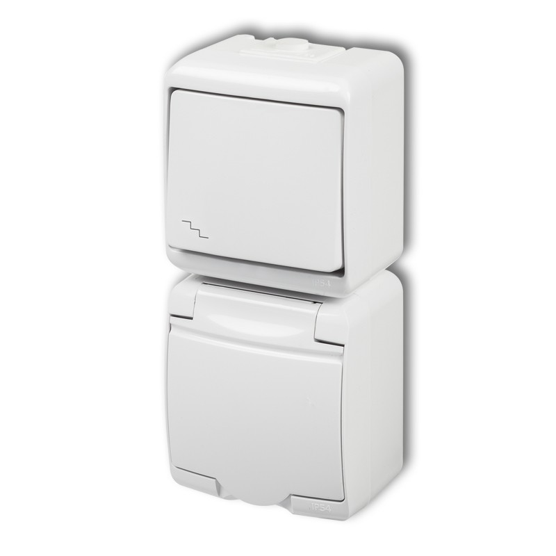 Two-way switch with single socket with earth 2P+Z (white cover, child protection)