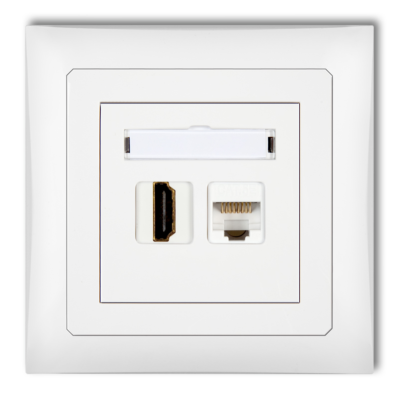 HDMI single socket + single computer socket 1xRJ45, cat. 5e, 8-contact