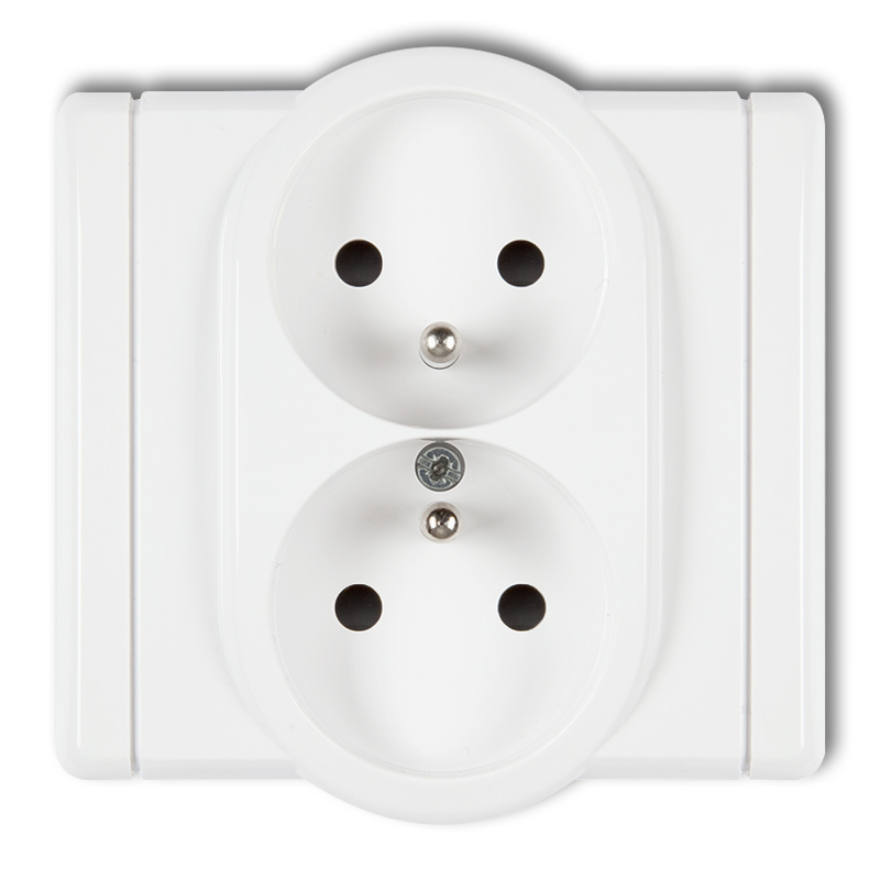 Double socket with earth 2x(2P+Z) (with increased contact protection/shutter)