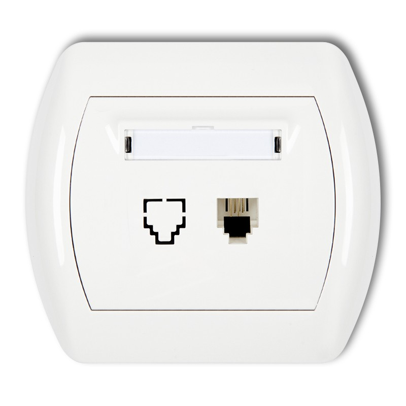 Single telephone socket 1xRJ11, 4-contact