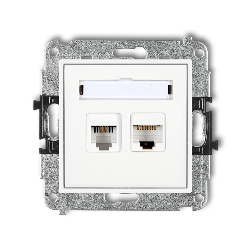 Single telephone socket 1xRJ11, tool-less + single computer socket 1xRJ45, cat. 5e, 8-contact