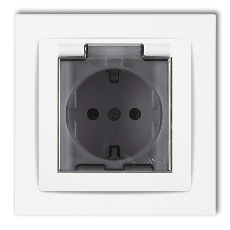 Splash proof socket with earth SCHUKO 2P+Z (shaded transparent cover, child protection)