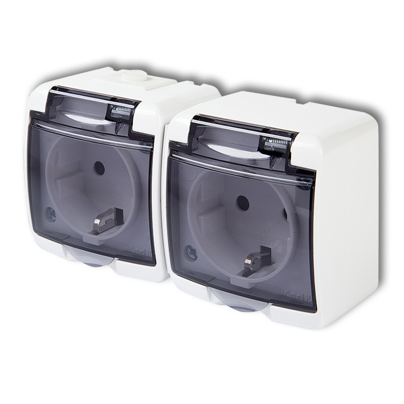 Double socket with earth SCHUKO 2x(2P+Z), (shaded transparent cover; without child protection)