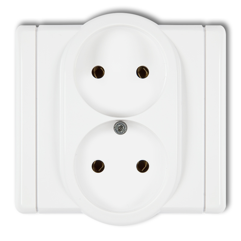 Double socket without earth 2x2P (child protection)