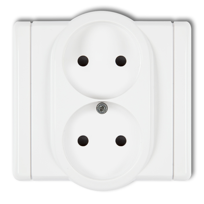Double socket without earth 2x2P (with increased contact protection/shutter)