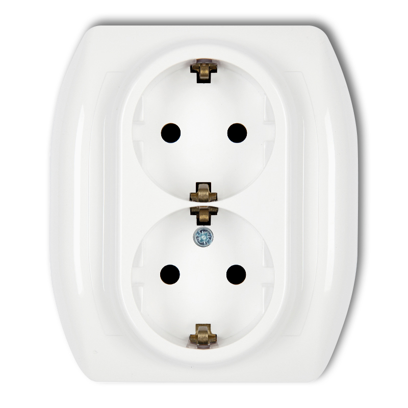 Double socket with earth SCHUKO 2x(2P+Z) (child protection)