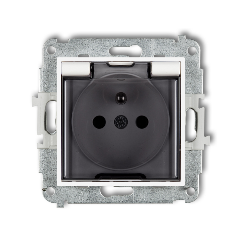 Splash proof socket with earth 2P+Z (shaded transparent cover)