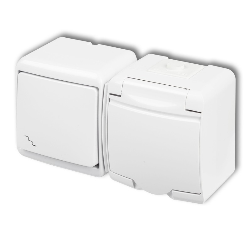 Two-way switch with single socket with earth SCHUKO 2P+Z (white cover, without child protection)