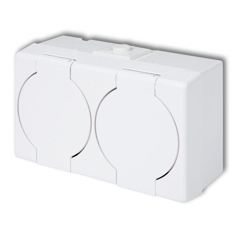 Double socket with earth 2x(2P+Z) (white cover)